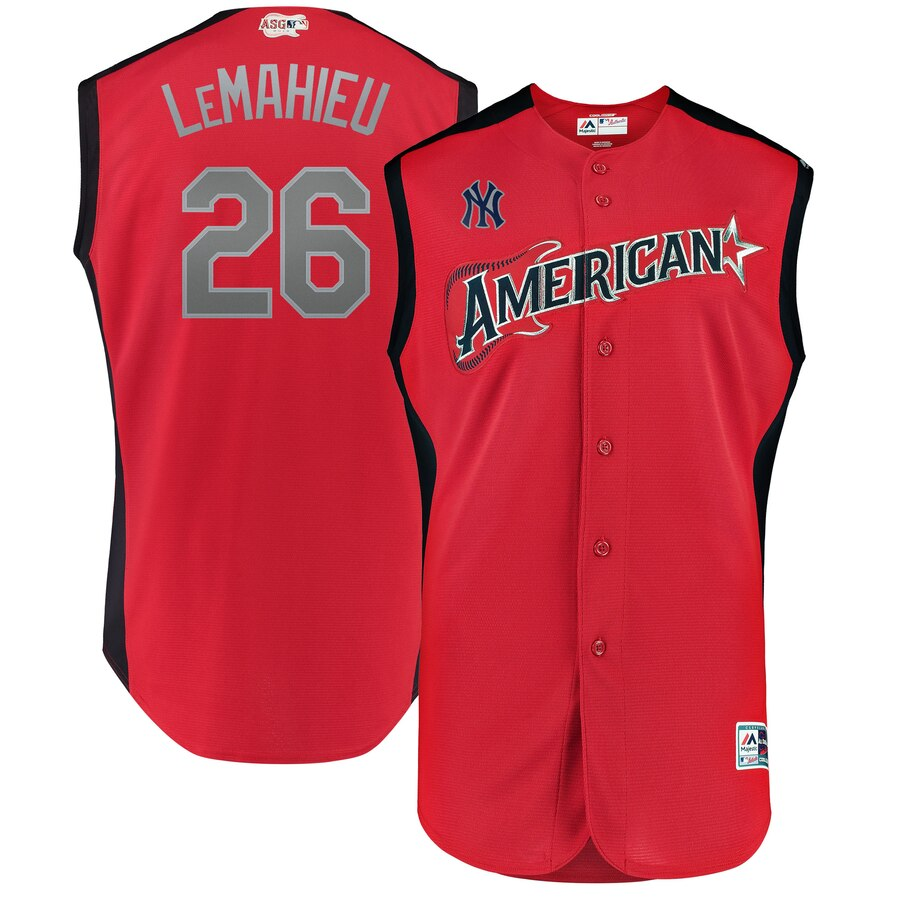 American League #26 DJ LeMahieu Red 2019 MLB All-Star Game Workout Jersey