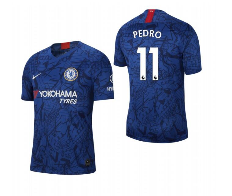 Men's Chelsea #11 Pedro Blue 2019 Soccer Club Home Jersey