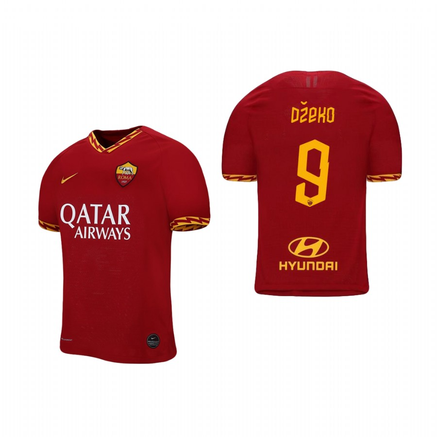 Men's Roma #9 Edin Dzeko Red 2019 Soccer Club Home Official Jersey