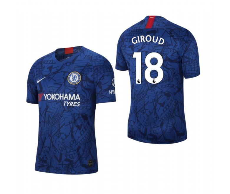 Men's Chelsea #18 Olivier Giroud Blue 2019 Soccer Club Home Jersey
