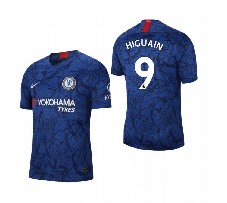 Men's Chelsea #9 Gonzalo Higuain Blue 2019 Soccer Club Home Jersey