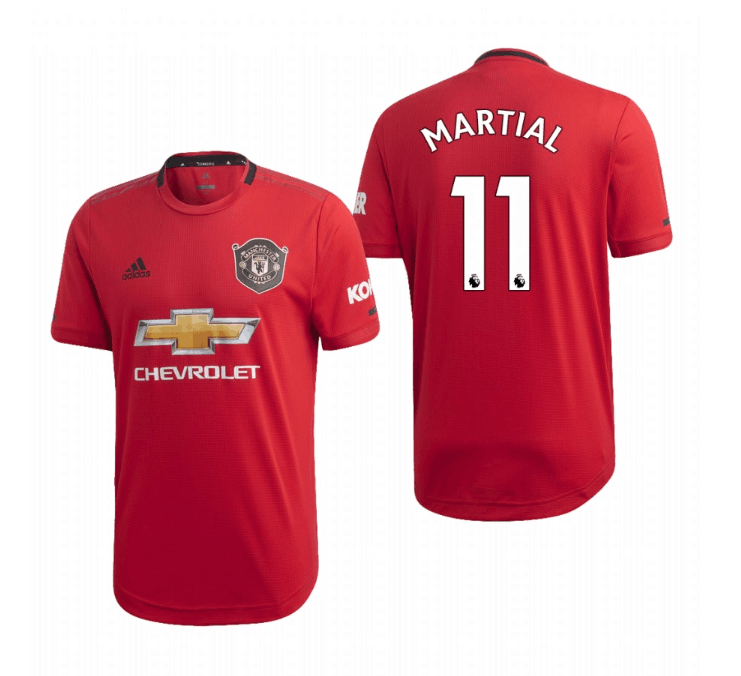 Men's Manchester United #11 Anthony Martial Red 2019 Soccer Club Home Jersey