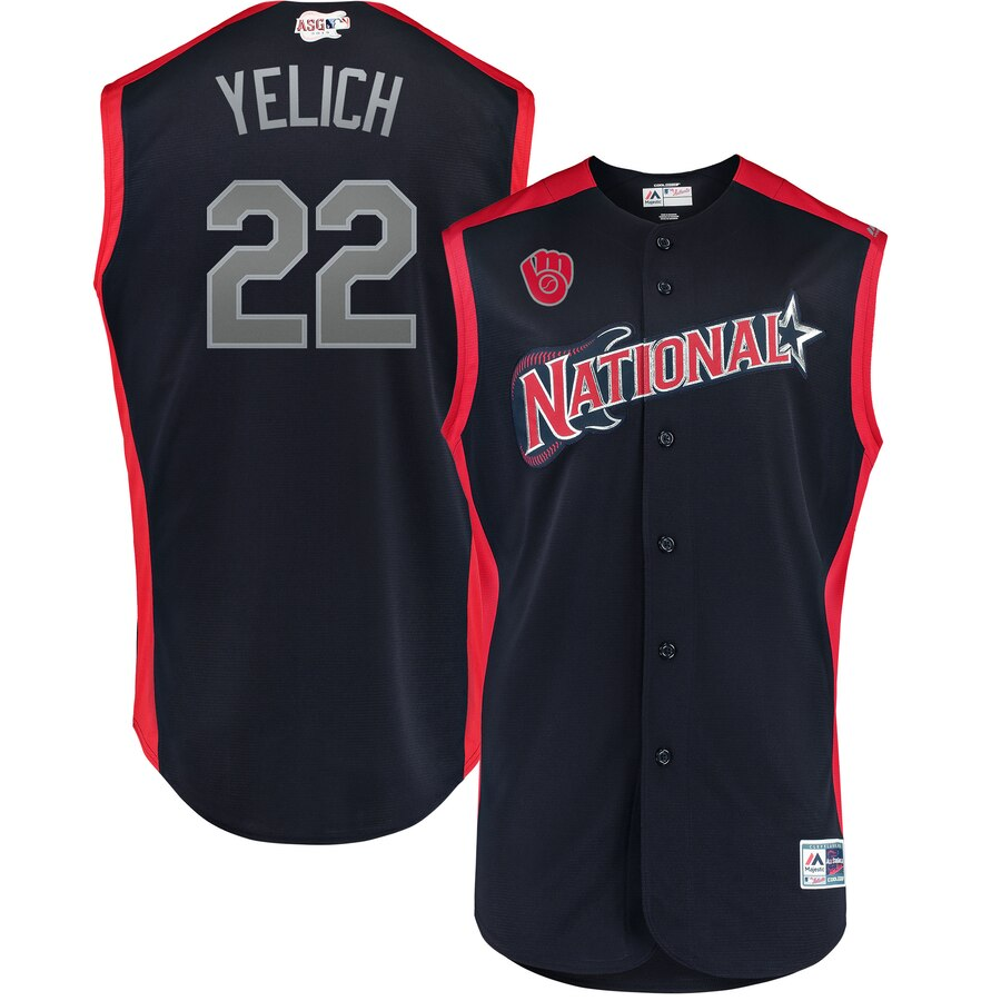 National League #22 Christian Yelich Navy 2019 MLB All-Star Game Workout Jersey