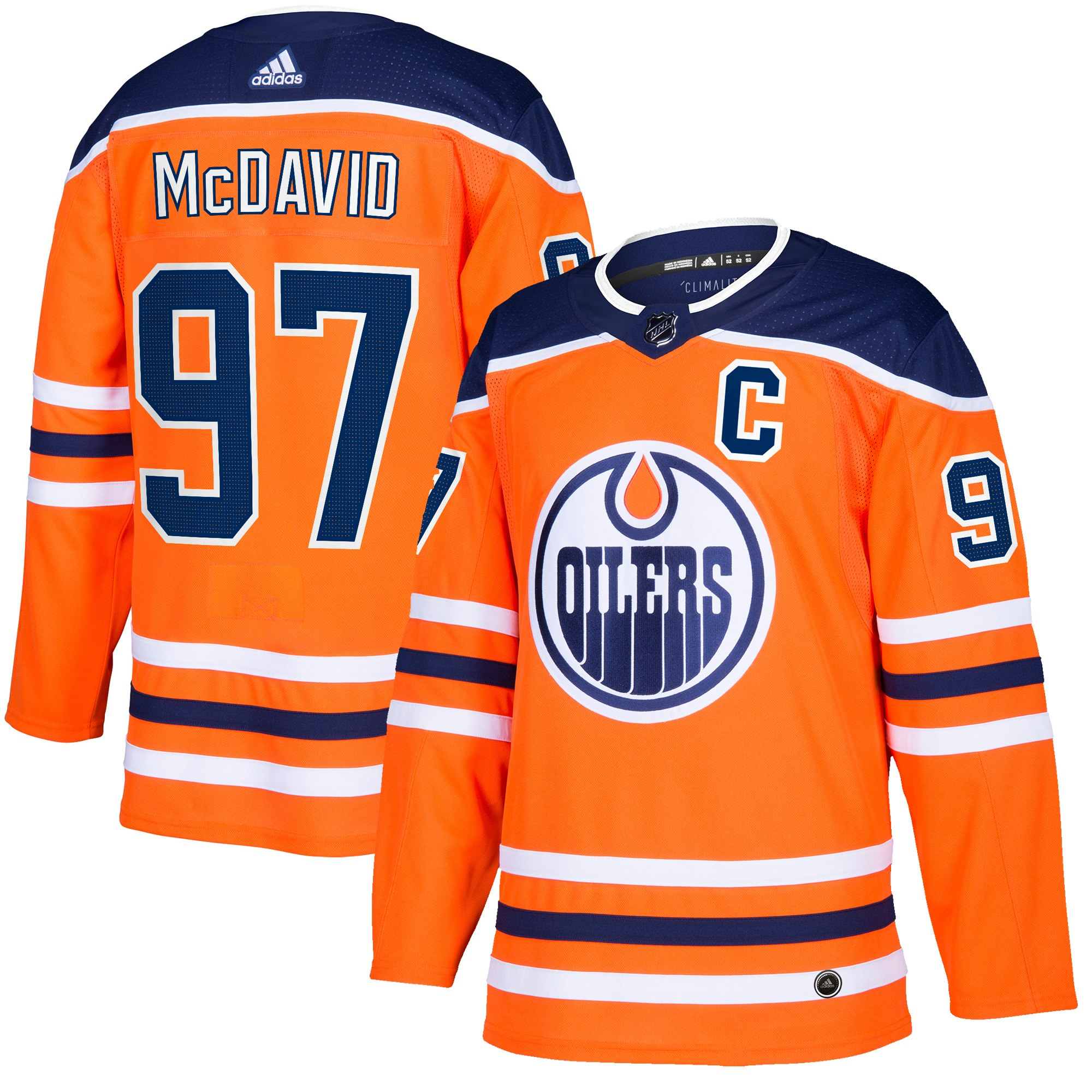 Men's Edmonton Oilers #97 Connor McDavid Orange Adidas Stitched NHL Jersey