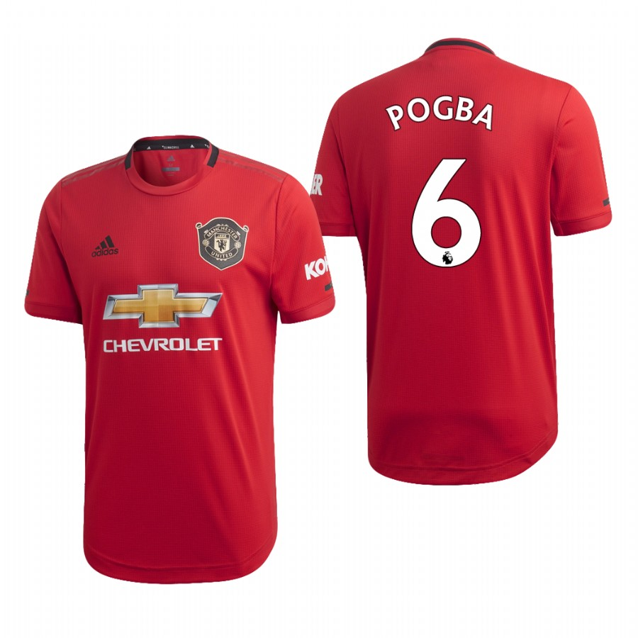 Men's Manchester United #6 Paul Pogba Red 2019 Soccer Club Home Official Jersey