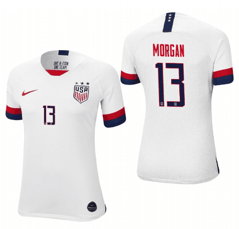 Women's USA #13 Morgan Alex White 2019 World Cup Fifa Jersey