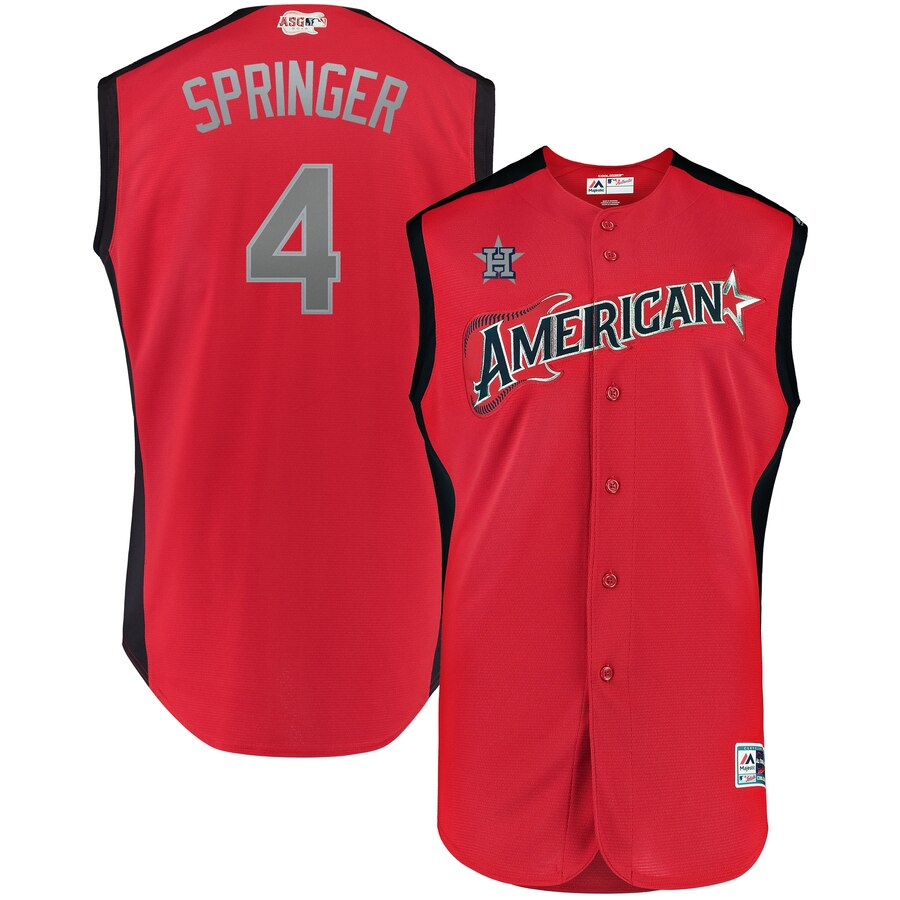 American League #4 George Springer Red 2019 MLB All-Star Game Workout Jersey