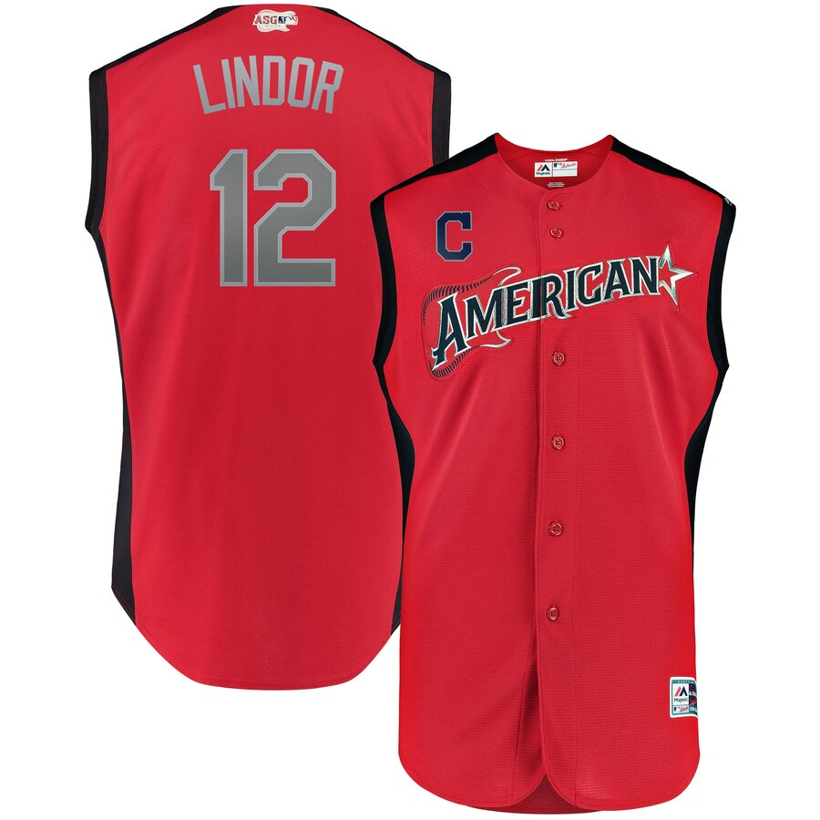 American League #12 Francisco Lindor Red 2019 MLB All-Star Game Workout Jersey