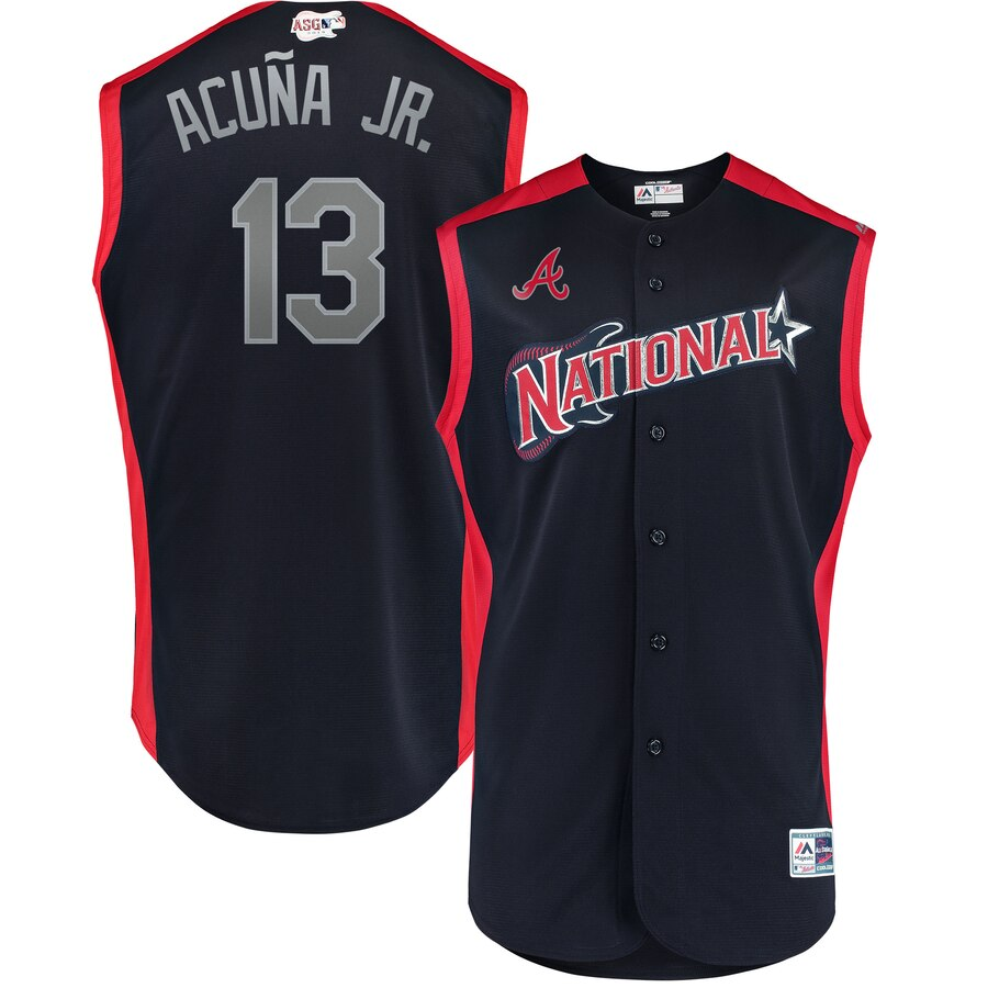 National League #13 Ronald Acuña Jr. Navy 2019 MLB All-Star Game Workout Jersey