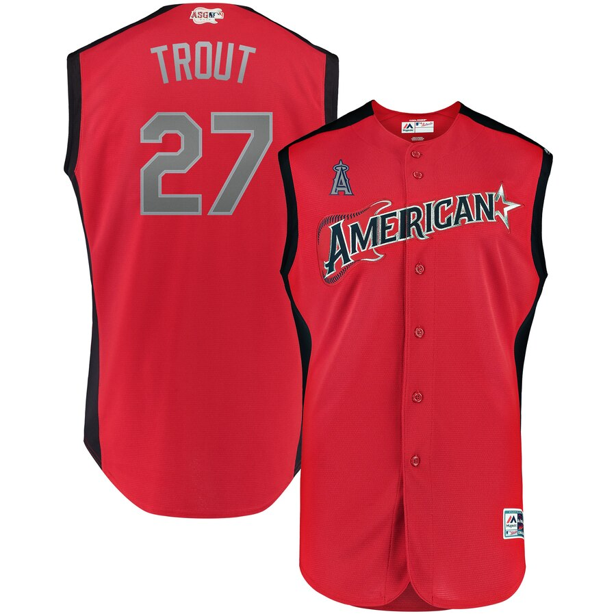 American League #27 Mike Trout Red 2019 MLB All-Star Game Workout Jersey