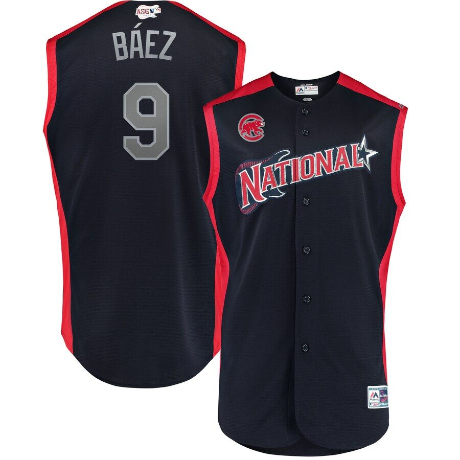 National League #9 Javier Báez Navy 2019 MLB All-Star Game Workout Jersey