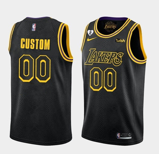 Men's Los Angeles Lakers Black Customized With Gigi Patch Stitched Jersey