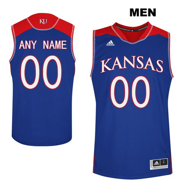 Men's Kansas Jayhawks Personalized Blue Stitched NCAA Jersey