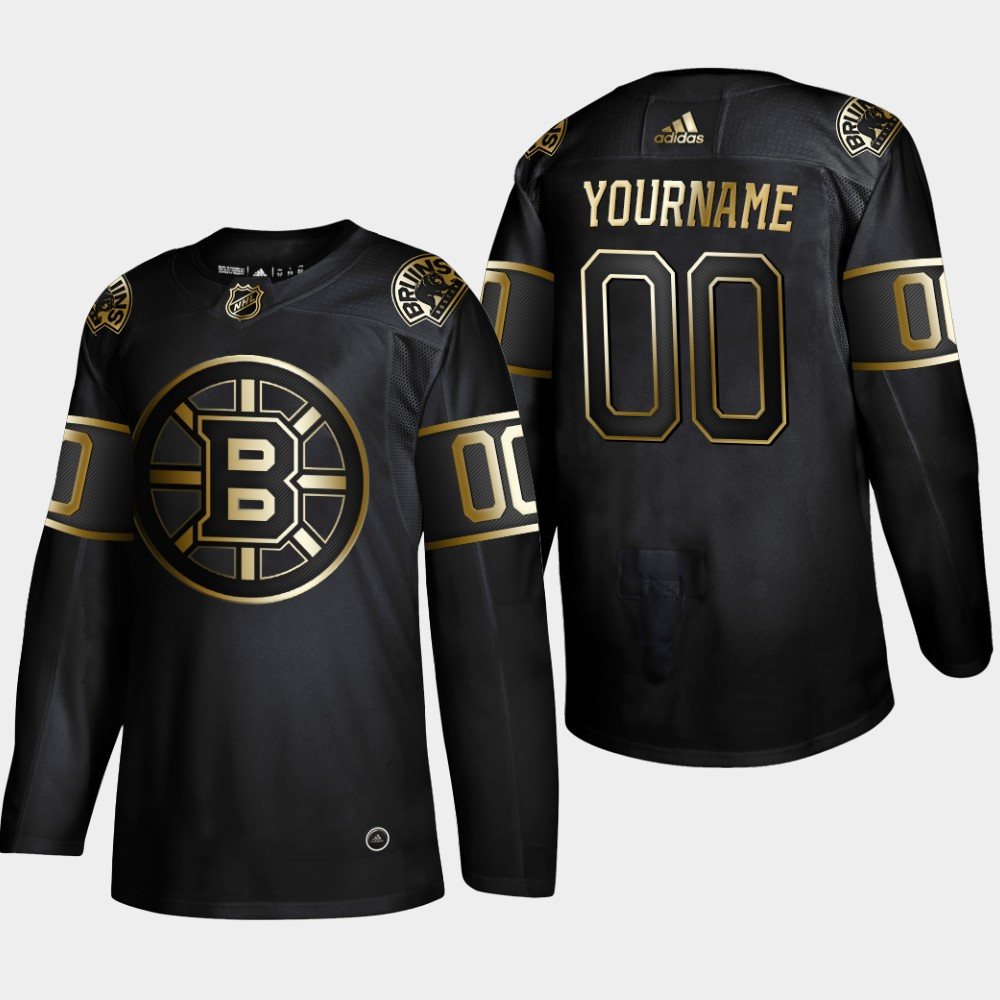Men's Boston Bruins Black Golden Edition Custom NHL Stitched Jersey