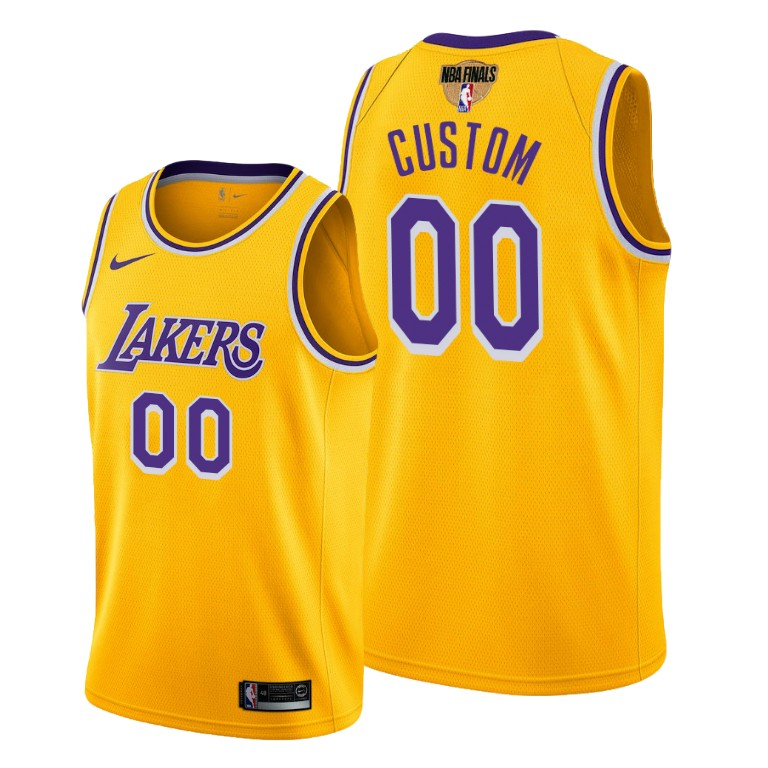 Men's Los Angeles Lakers 2020 Gold Customized Finals Bound Icon Edition Stitched Jersey