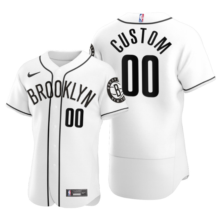 Men's Brooklyn Nets Customized 2020 White NBA X MLB Crossover Edition Stitched Jersey