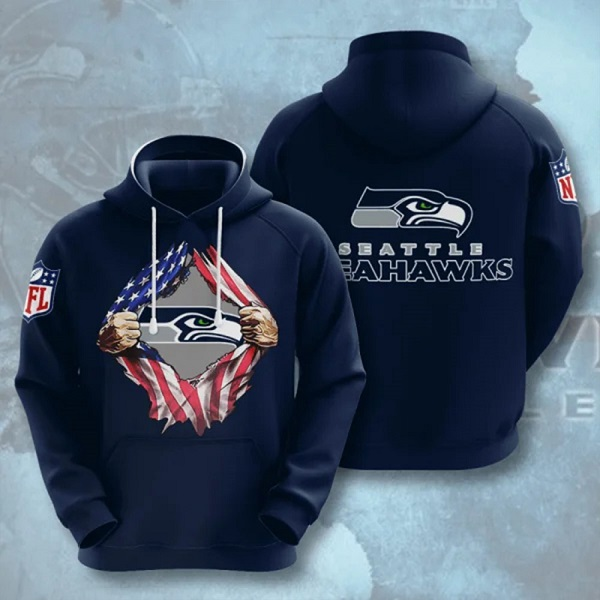 Men's Seattle Seahawks Navy 3D Trending T-Shirt Hoodie