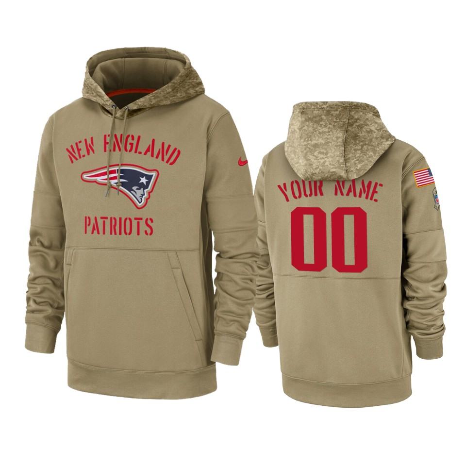 Men's New England Patriots Customized Tan 2019 Salute to Service Sideline Therma Pullover Hoodie
