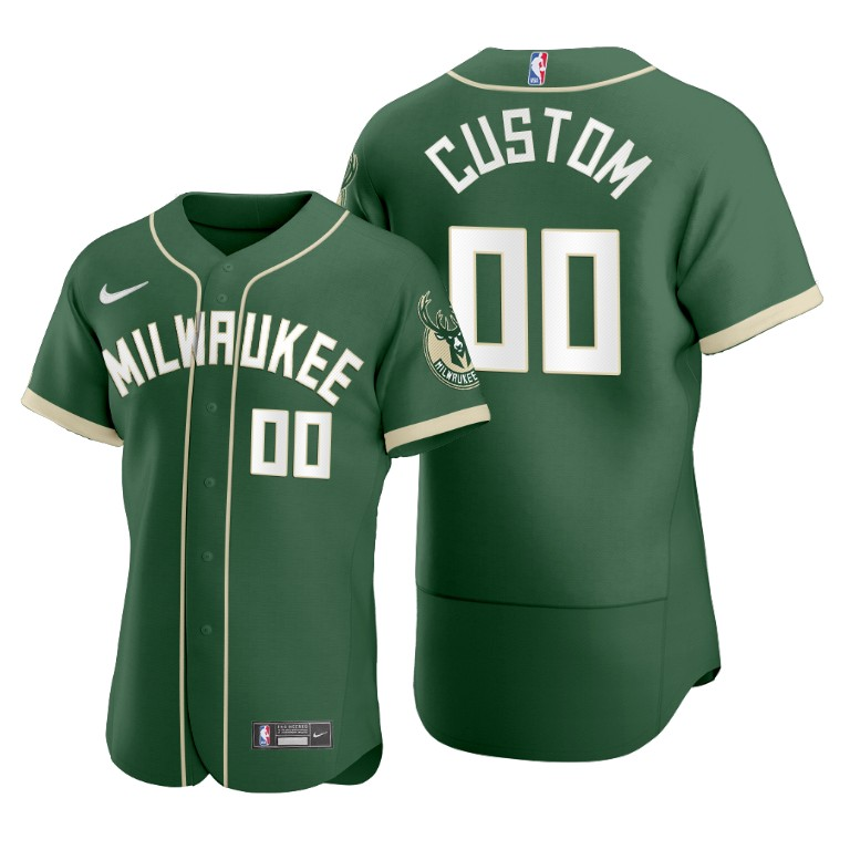 Men's Milwaukee Bucks Customized 2020 Green NBA X MLB Crossover Edition Stitched Jersey