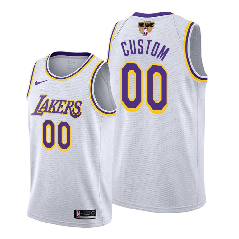 Men's Los Angeles Lakers 2020 White Customized Finals Bound Association Edition Stitched Jersey