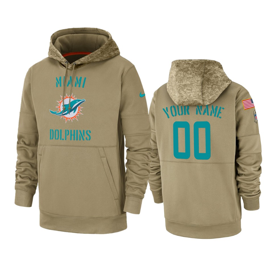 Men's Miami Dolphins Customized Tan 2019 Salute to Service Sideline Therma Pullover Hoodie