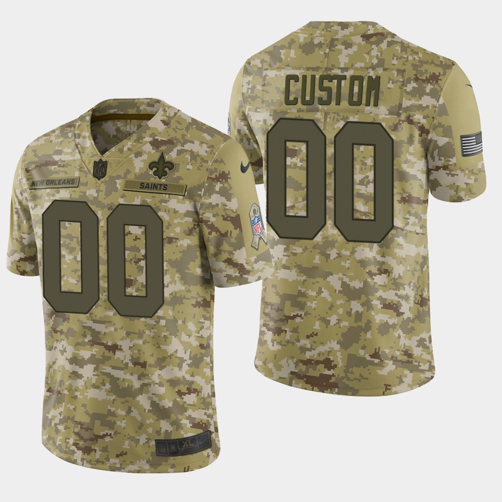 Men's New Orleans Saints Customized Camo Salute To Service NFL Stitched Limited Jersey