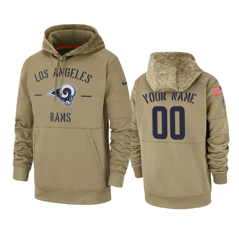Men's Los Angeles Rams Customized Tan 2019 Salute to Service Sideline Therma Pullover Hoodie