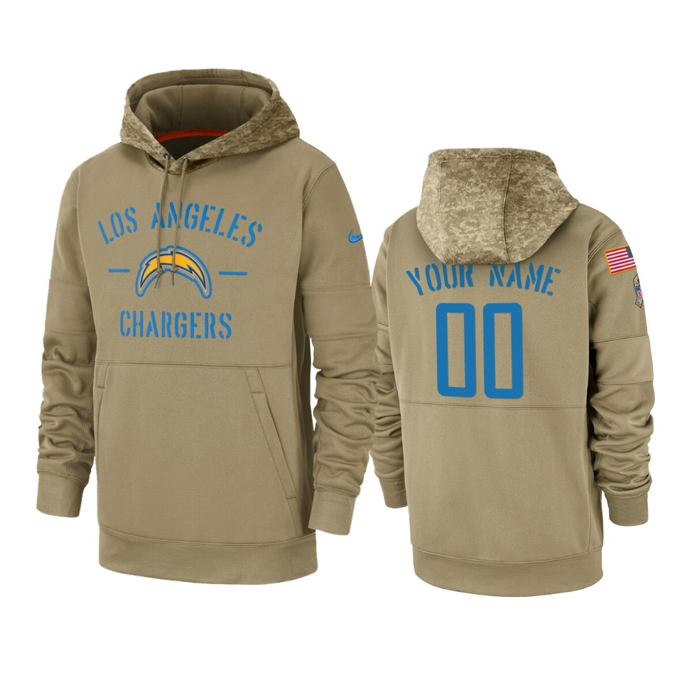 Men's Los Angeles Chargers Customized Tan 2019 Salute to Service Sideline Therma Pullover Hoodie