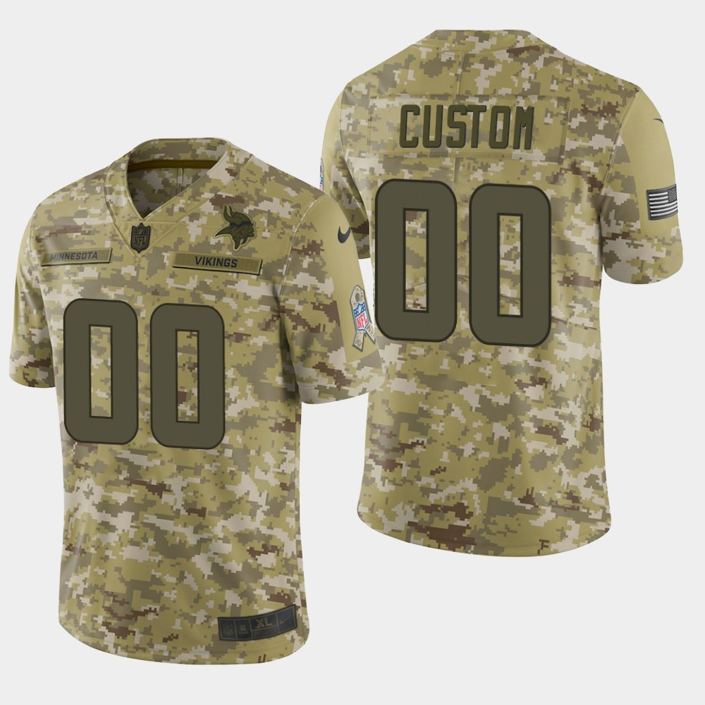 Men's Minnesota Vikings Customized Camo Salute To Service NFL Stitched Limited Jersey