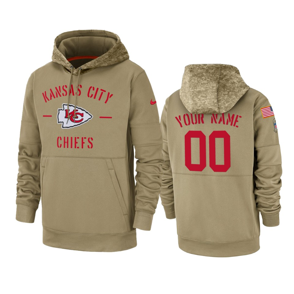 Men's Kansas City Chiefs Customized Tan 2019 Salute To Service Sideline Therma Pullover Hoodie