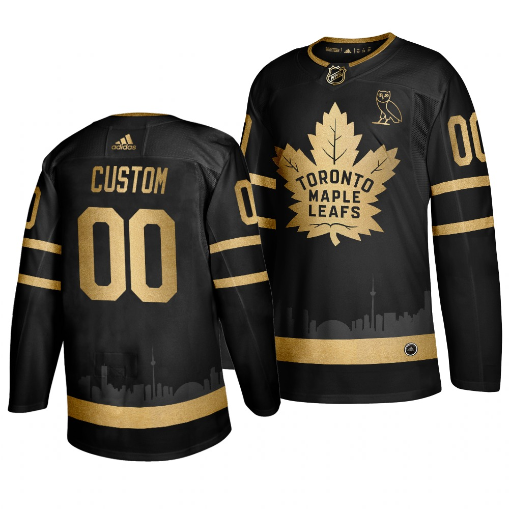 Men's Adidas Toronto Maple Leafs Personalized Black Golden Stitched NHL Jersey