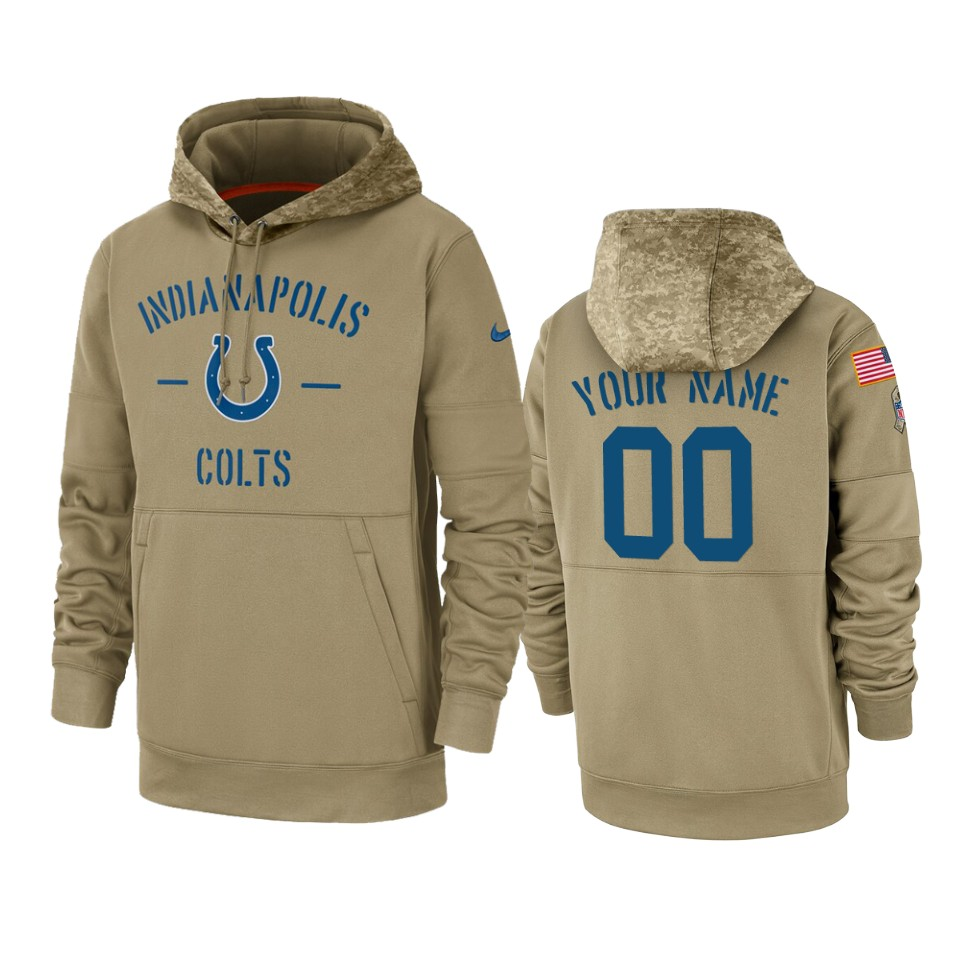 Men's Indianapolis Colts Customized Tan 2019 Salute To Service Sideline Therma Pullover Hoodie