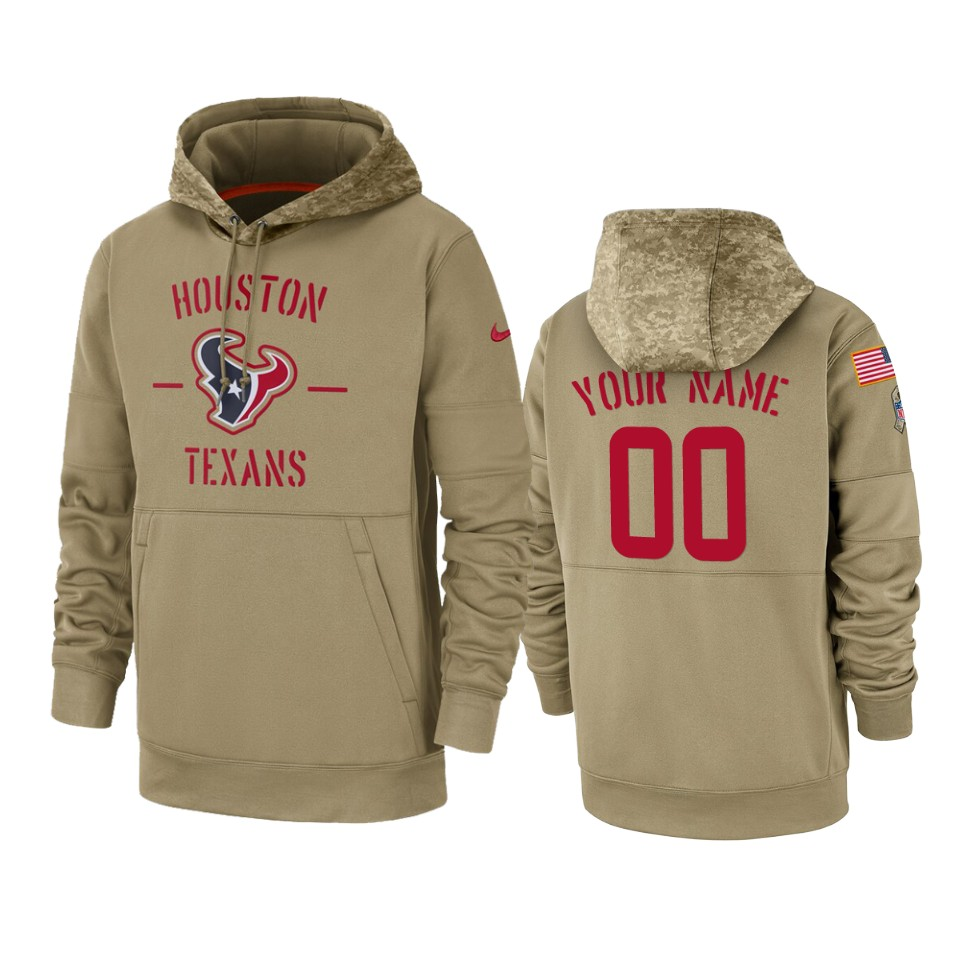 Men's Houston Texans Customized Tan 2019 Salute To Service Sideline Therma Pullover Hoodie