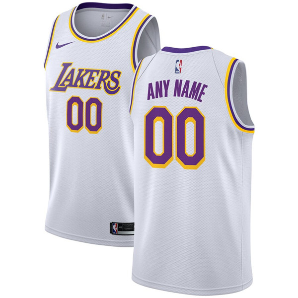 Men's Los Angeles Lakers White Customized Stitched NBA Jersey