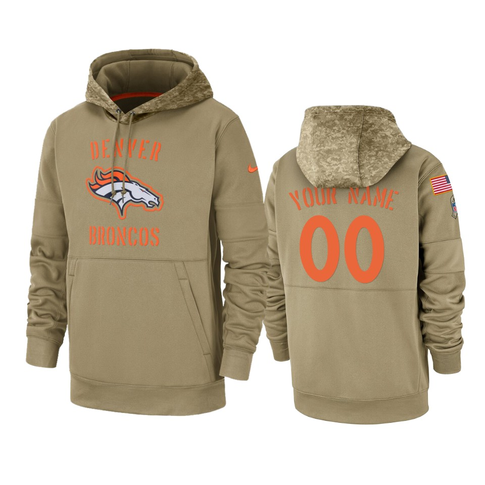 Men's Denver Broncos Customized Tan 2019 Salute To Service Sideline Therma Pullover Hoodie
