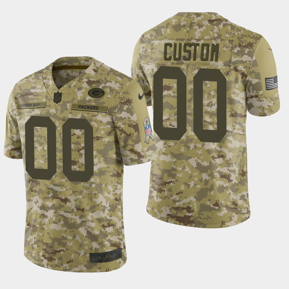 Men's Green Bay Packers Customized Camo Salute To Service NFL Stitched Limited Jersey