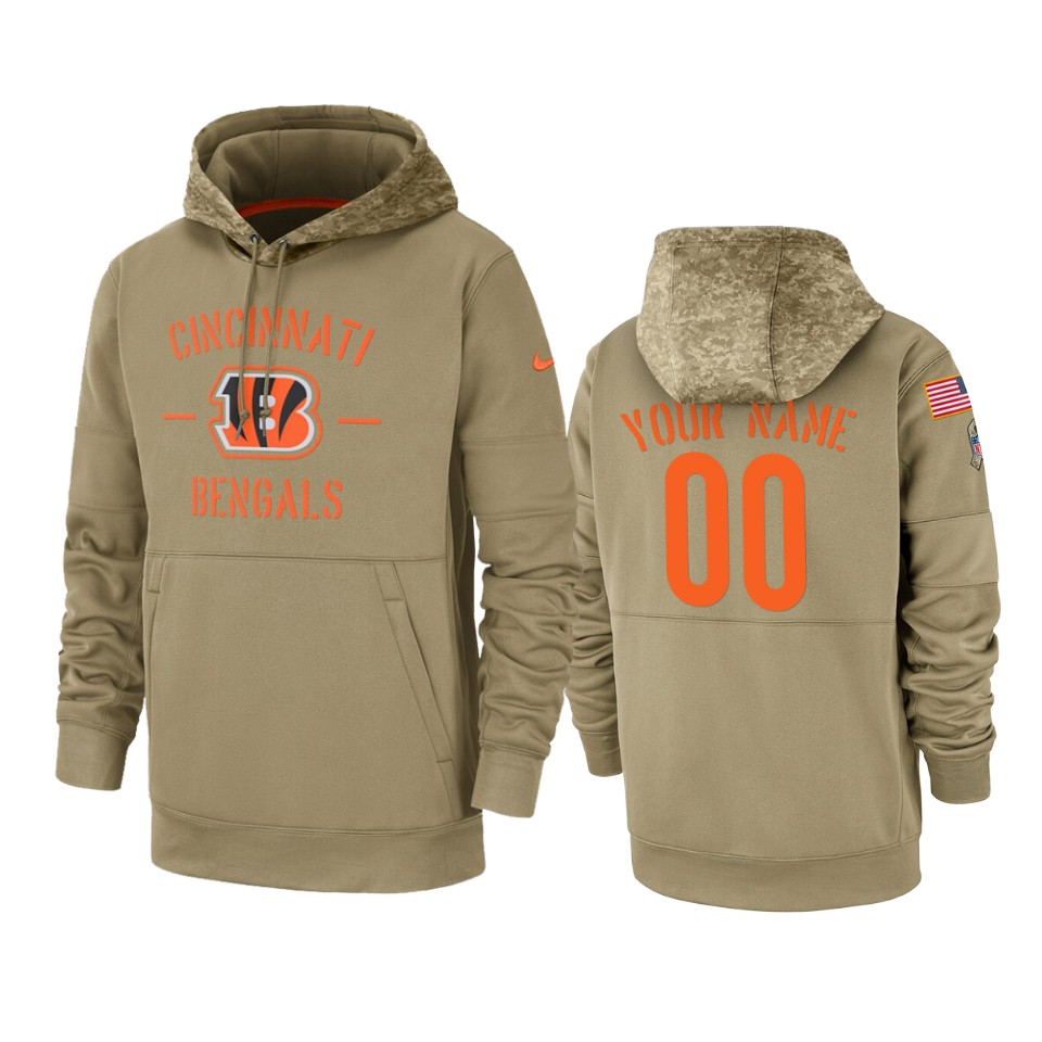 Men's Cincinnati Bengals Customized Tan 2019 Salute To Service Sideline Therma Pullover Hoodie