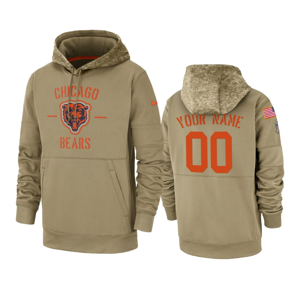Men's Chicago Bears Customized Tan 2019 Salute To Service Sideline Therma Pullover Hoodie