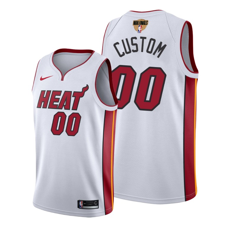 Men's Miami Heat White Customized 20202 Finals Bound Association Edition Stitched Jersey