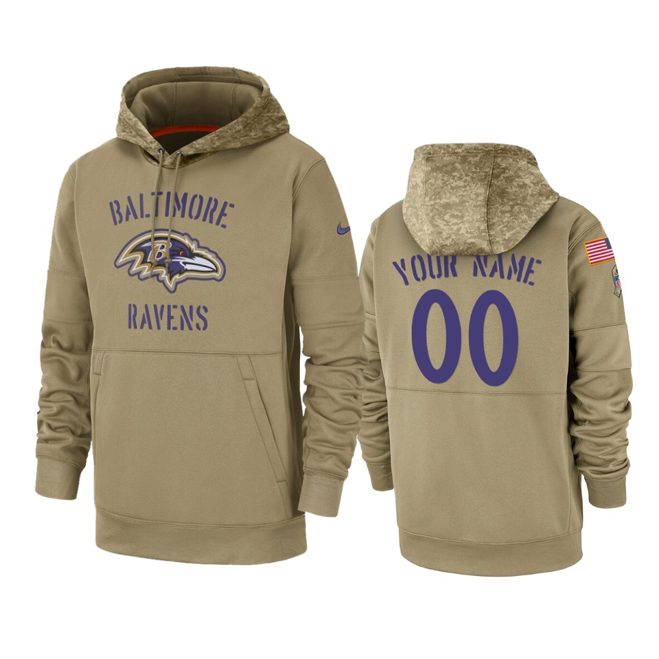 Men's Baltimore Ravens Customized Tan 2019 Salute To Service Sideline Therma Pullover Hoodie