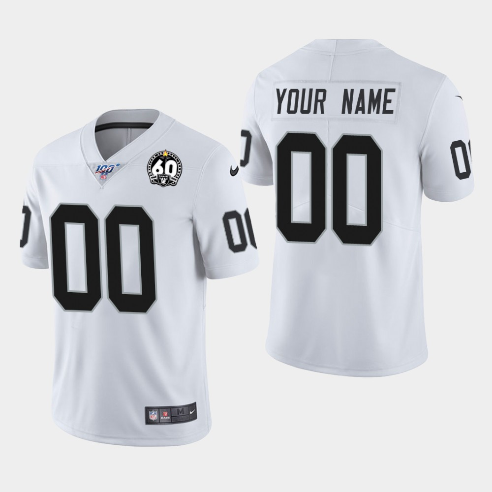 Men's Oakland Raiders Customized 2019 White 100th Season With 60 Patch Vapor Untouchable Stitched NFL Jersey