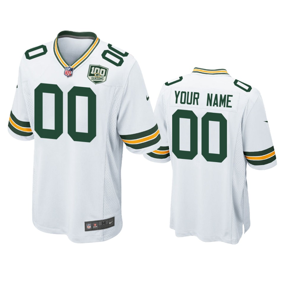 Men's Green Bay Packers Customized White 2019 100th Season NFL Game Jersey