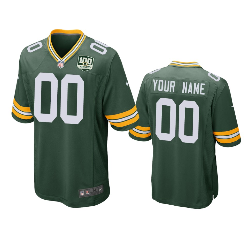 Men's Green Bay Packers Customized Green 2019 100th Season NFL Game Jersey