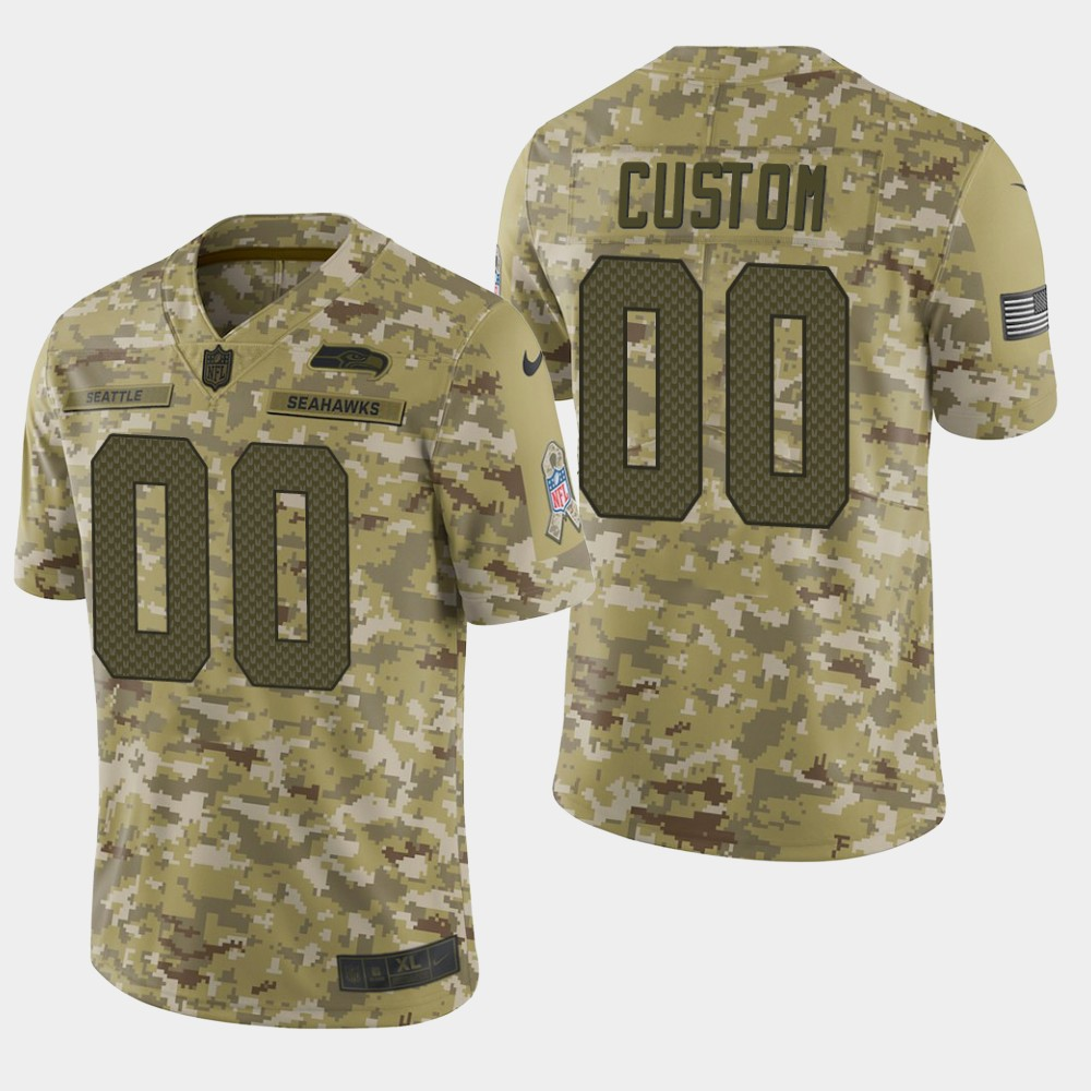 Men's Seattle Seahawks Customized Camo Salute To Service Limited Stitched NFL Jersey