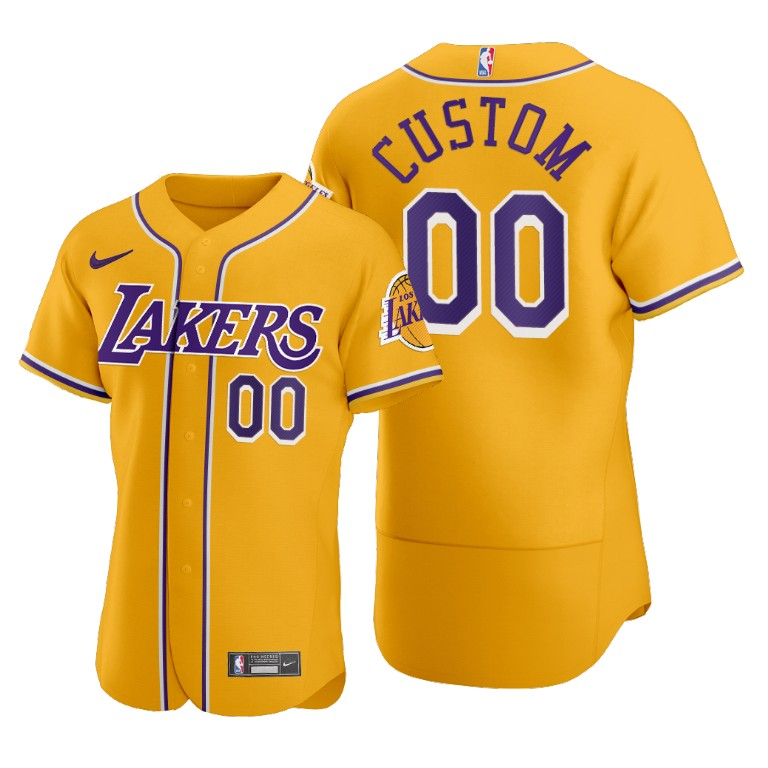 Men's Los Angeles Lakers Customized 2020 Gold NBA X MLB Crossover Edition Stitched Jersey