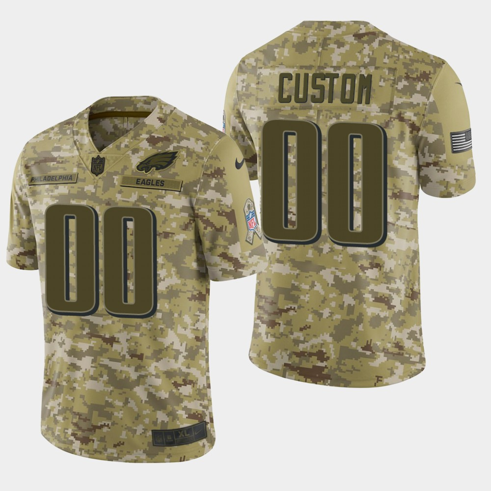 Men's Philadelphia Eagles Customized Camo Salute To Service NFL Stitched Limited Jersey