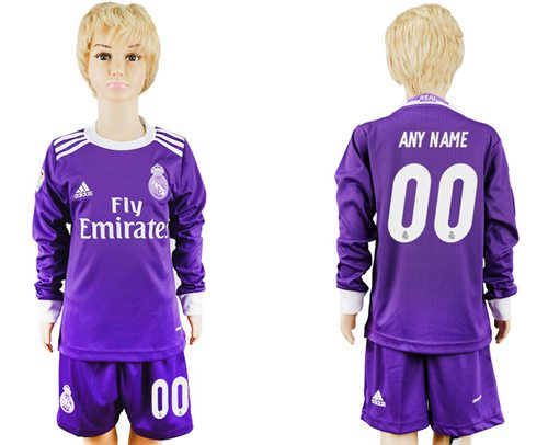 Real Madrid Personalized Away Long Sleeves Kid Soccer Club Jersey