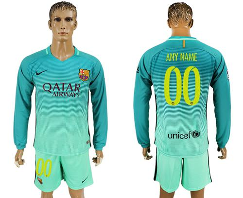 Barcelona Personalized Sec Away Long Sleeves Soccer Club Jersey