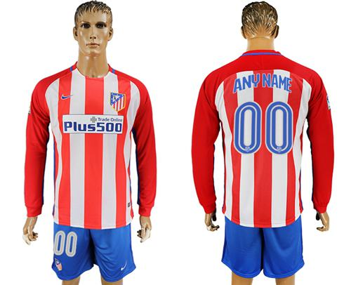 Atletico Madrid Personalized Home Long Sleeves Soccer Club Jersey