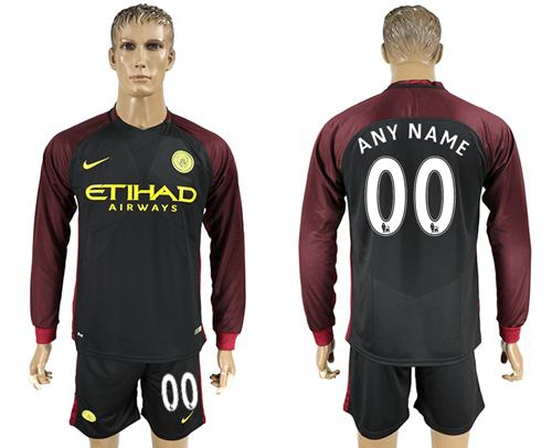 Manchester City Personalized Away Long Sleeves Soccer Club Jersey